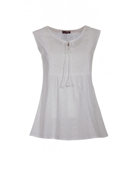 2 Blusa algodon blanca bordada sin mangas