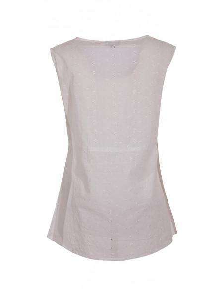 3 Blusa algodon blanca bordada sin mangas