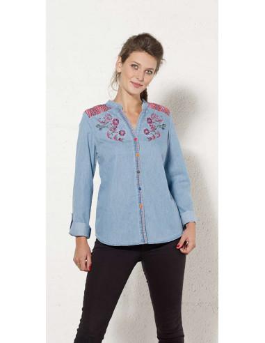 1 Blusa algodon jean bordada mangas largas