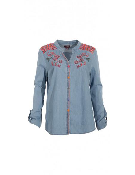 2 Blusa algodon jean bordada mangas largas