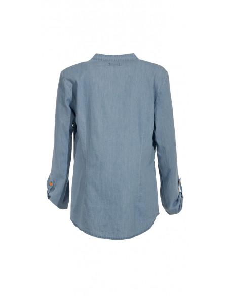 3 Blusa algodon jean bordada mangas largas