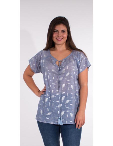 1 Blusa velo de algodon sello hojas plateadas