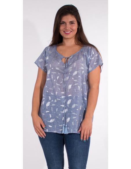 2 Blusa velo de algodon sello hojas plateadas
