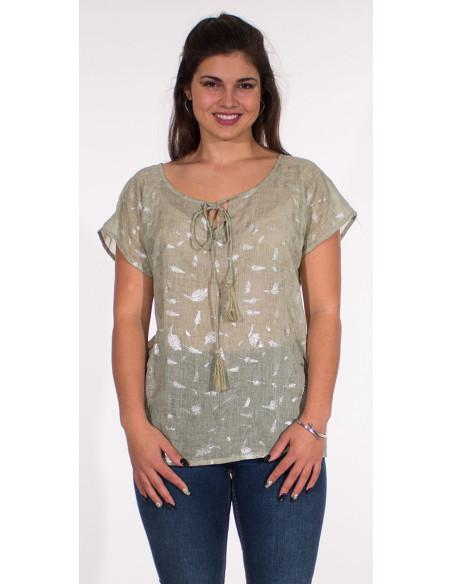 4 Blusa velo de algodon sello hojas plateadas