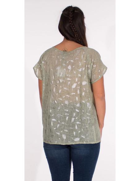 5 Blusa velo de algodon sello hojas plateadas