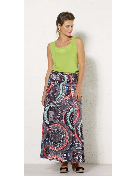 1 Falda larga malla 95% poliester5% elastano estampado maori