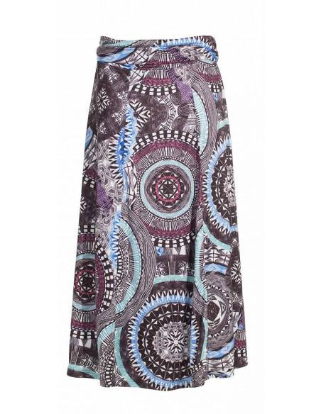2 Falda larga malla 95% poliester5% elastano estampado maori