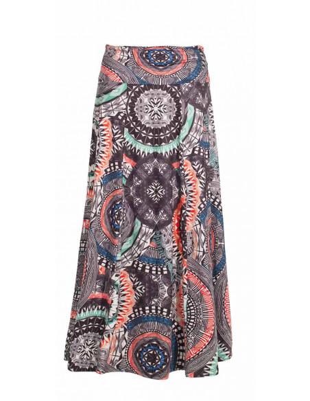 4 Falda larga malla 95% poliester5% elastano estampado maori