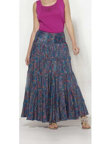 1 Falda larga poliester sari con volantes estampado alibaba