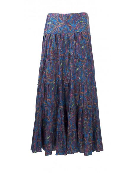 2 Falda larga poliester sari con volantes estampado alibaba