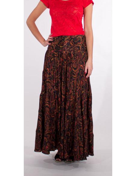 3 Falda larga poliester sari con volantes estampado alibaba