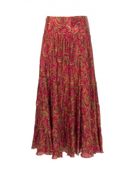 4 Falda larga poliester sari con volantes estampado alibaba