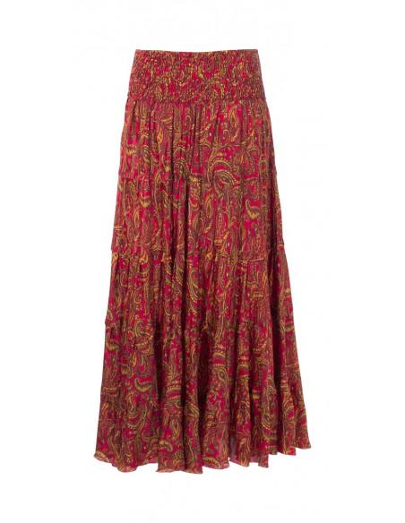 5 Falda larga poliester sari con volantes estampado alibaba