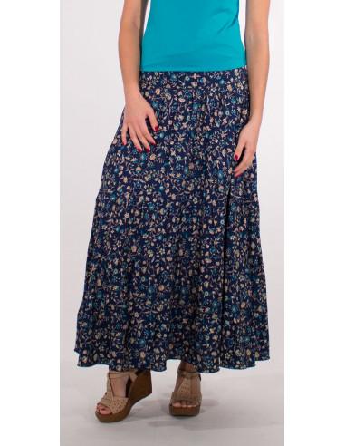 1 Falda larga poliester sari con volantes