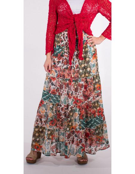 1 Falda larga velo de algodon doblada estampado boheme