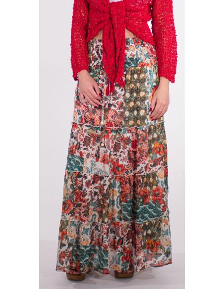 2 Falda larga velo de algodon doblada estampado boheme