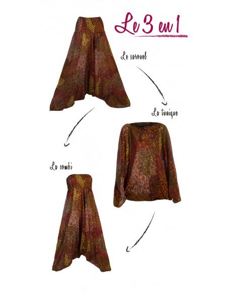 5 Sarouel viscosa 3 en 1 estampado plumas