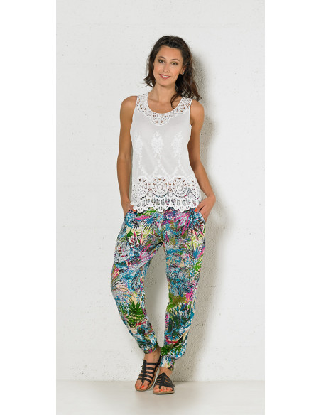 1 Pantalon Carote Viscose Imprime Jardin