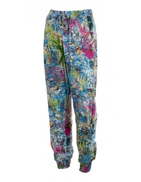 2 Pantalon Carote Viscose Imprime Jardin