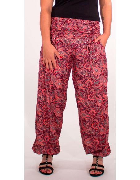 2 Pantalon poliester cintura con cordon sari dorado