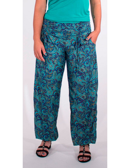 3 Pantalon poliester cintura con cordon sari dorado