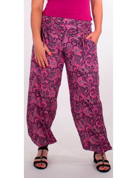 4 Pantalon poliester cintura con cordon sari dorado