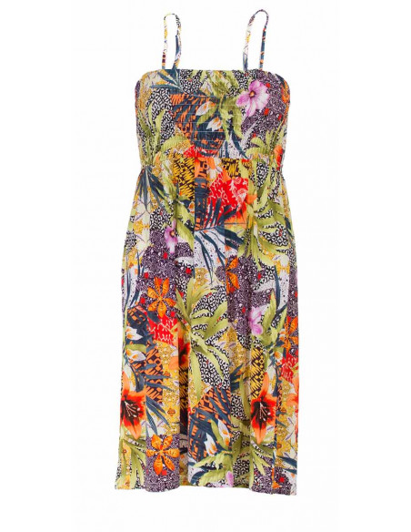 2 Vestido malla 96% poliester 4% elastano tirantes estampado botanico