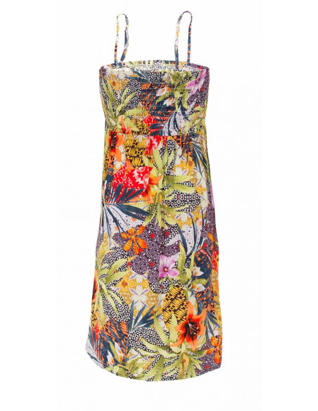 3 Vestido malla 96% poliester 4% elastano tirantes estampado botanico