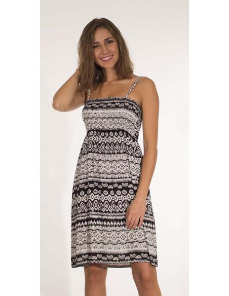 1 Vestido viscosa tirantes estampado negro y blanco