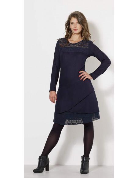 1 Vestido viscosa con encaje de algodón bordado