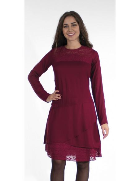 2 Vestido viscosa con encaje de algodón bordado