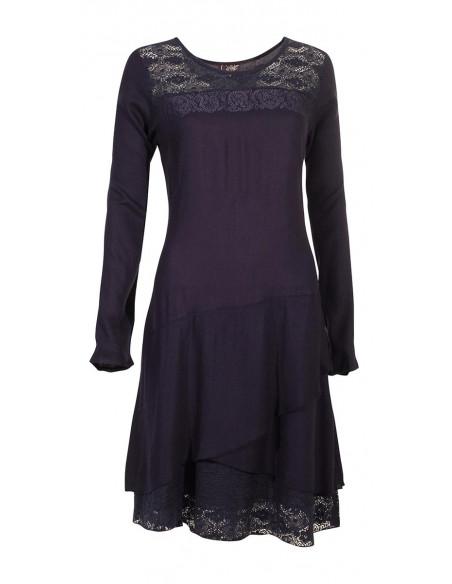 3 Vestido viscosa con encaje de algodón bordado