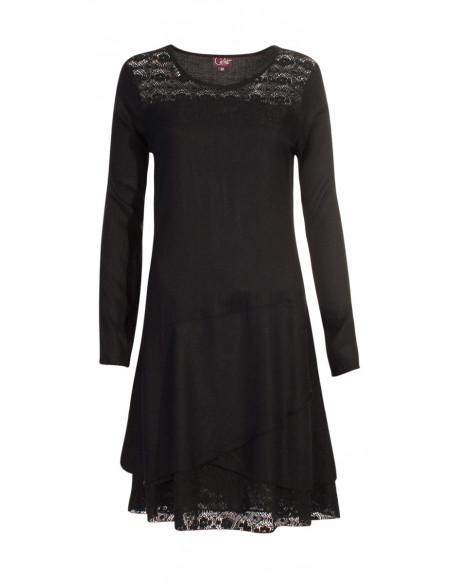 4 Vestido viscosa con encaje de algodón bordado