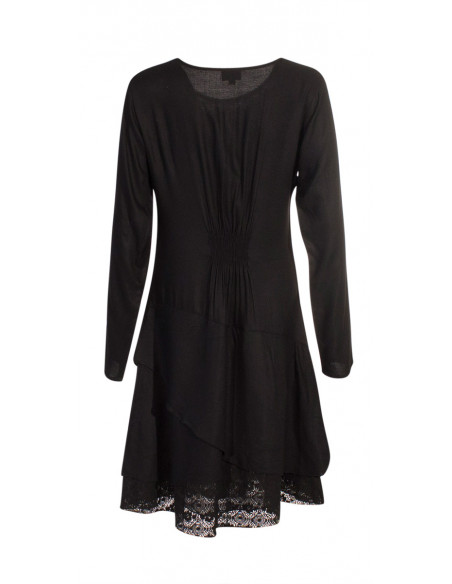 5 Vestido viscosa con encaje de algodón bordado