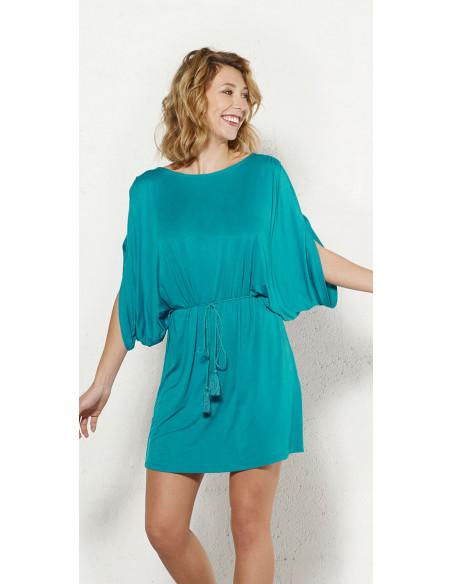 2 Vestido malla 95% viscosa 5% elastano liso hombro desdunos
