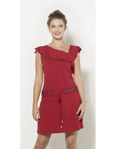 1 Vestido malla 97% algodon 3 % elastano sin mangas cintura bordado