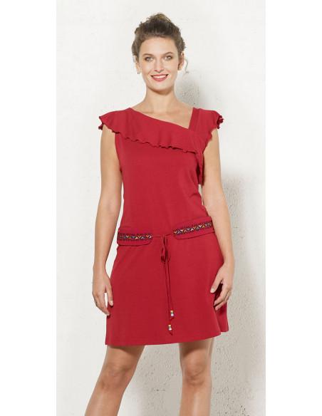 2 Vestido malla 97% algodon 3 % elastano sin mangas cintura bordado