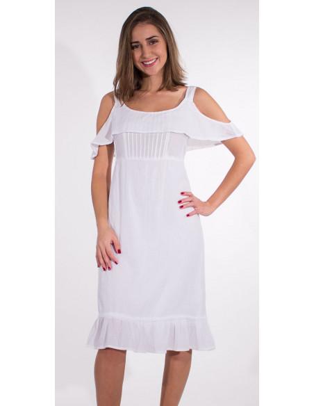 2 Vestido crepe de algodon doblado tirantes