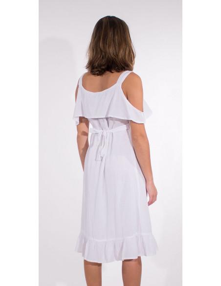 3 Vestido crepe de algodon doblado tirantes
