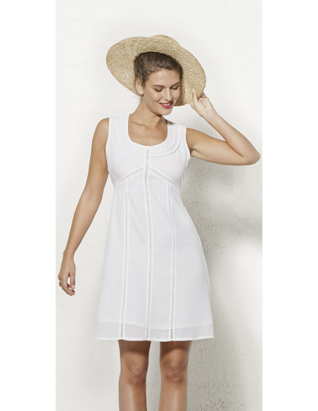 1 Vestido crepe de algodon doblado sin mangas