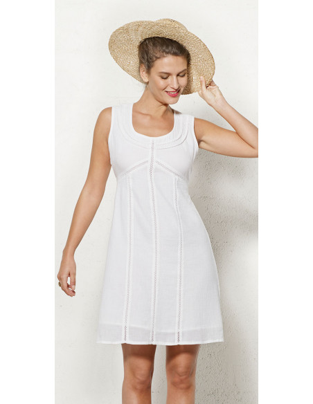 2 Vestido crepe de algodon doblado sin mangas