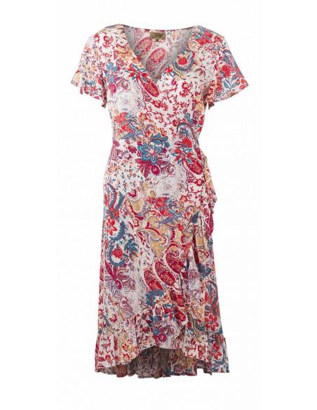2 Vestido viscosa mangas cortas estampado romantico