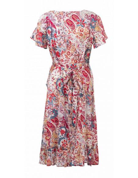 3 Vestido viscosa mangas cortas estampado romantico