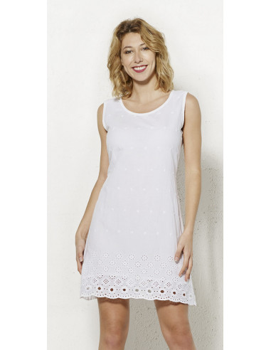 1 Vestido velo de algodon bordado doblado sin mangas