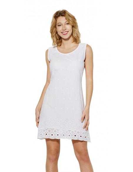 2 Vestido velo de algodon bordado doblado sin mangas