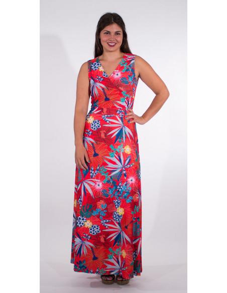 1 Vestido largo malla 95% poliester 5% elastano estampado hibiscus
