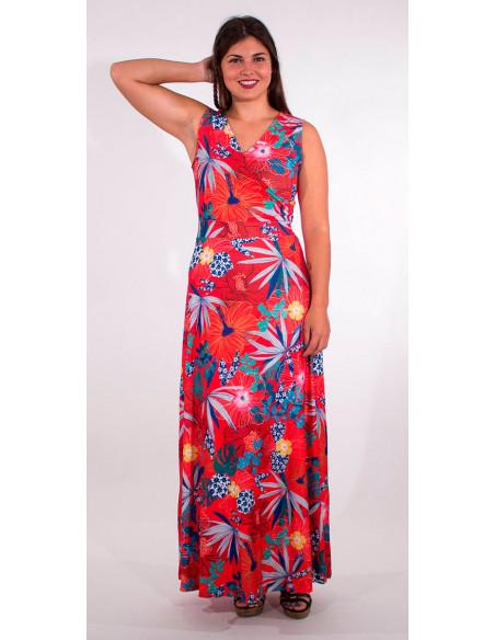 4 Vestido largo malla 95% poliester 5% elastano estampado hibiscus