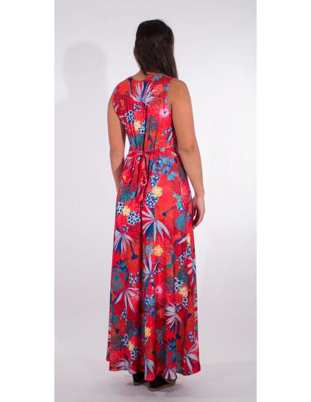 5 Vestido largo malla 95% poliester 5% elastano estampado hibiscus