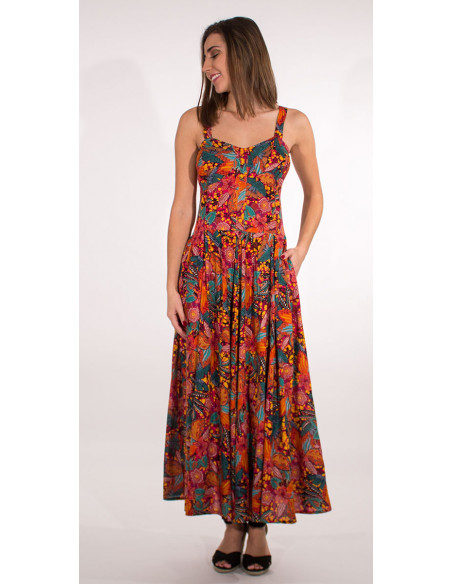 1 Vestido largo viscosa tirantes estampado tindaya