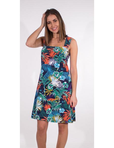 1 Vestido malla 97% algodon 3% elastano tirantes estampado vegetal